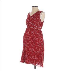 Motherhood Red Maternity Floral Sleeveless Dress